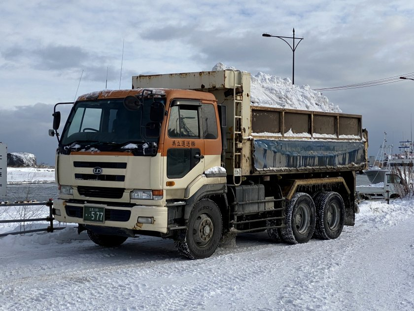 A common sight in these parts: a truckload of snow