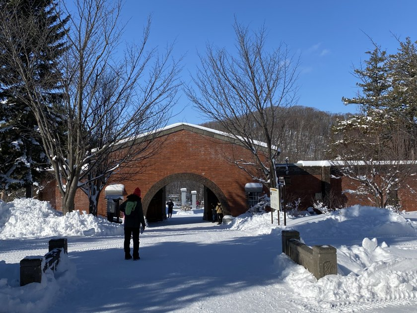 Museum grounds, sun and snow
