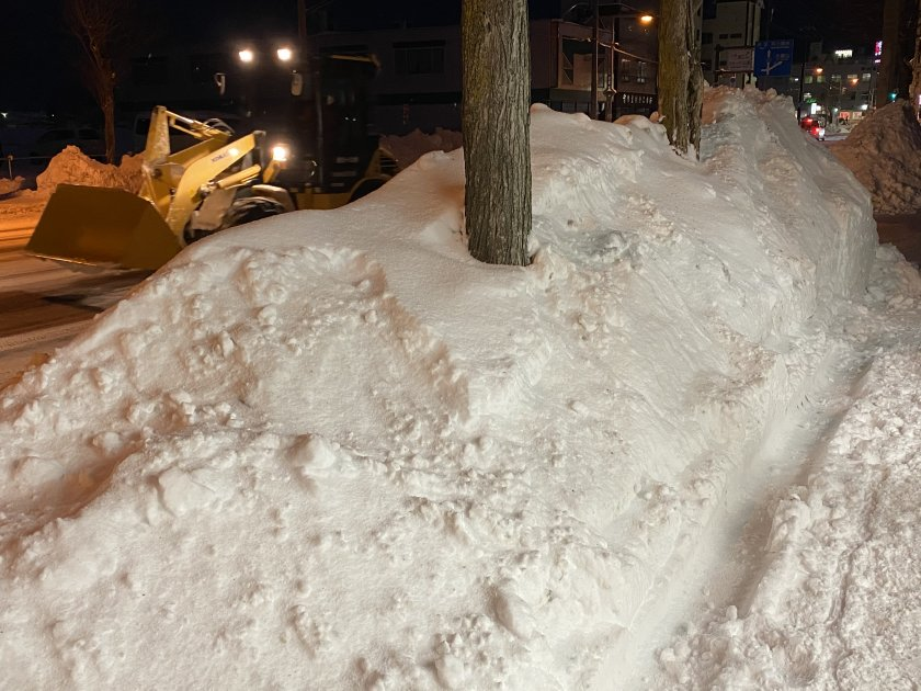 Snowdrift at night