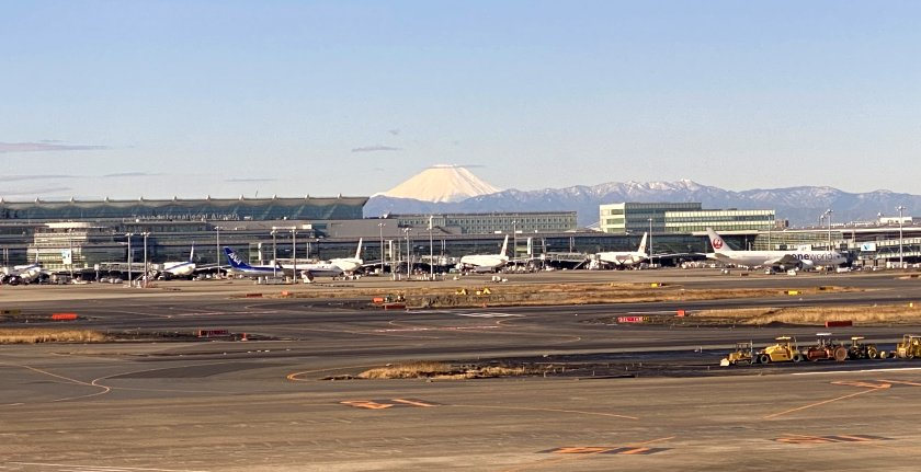 Mount Fuji was visible in the distance