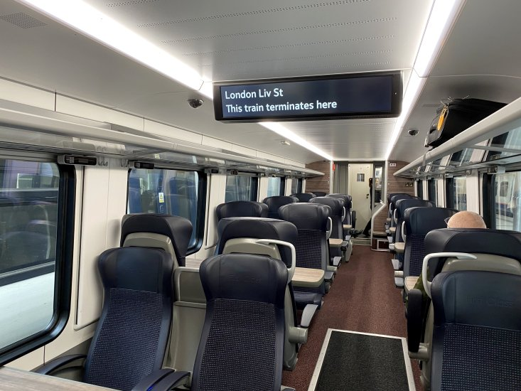 1st class carriage on the brand new Norwich train