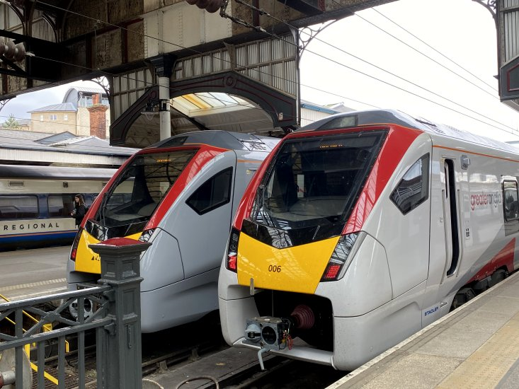 Two of the new trains at Norwich