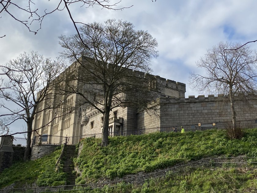 Norwich Castle sits on top of a substantial man-made mound