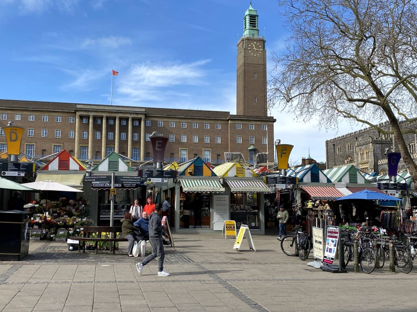 Norwich Market and the striking, Art Deco City Hall