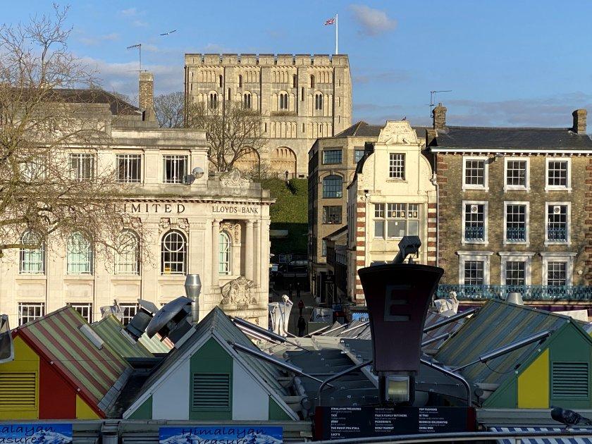 Looking towards the Castle, from Norwich Market