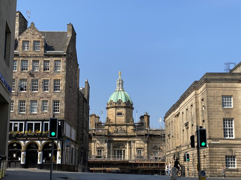 From left to right: Deacon Brodie's Tavern, former Bank of Scotland HQ and Edinburgh High Court