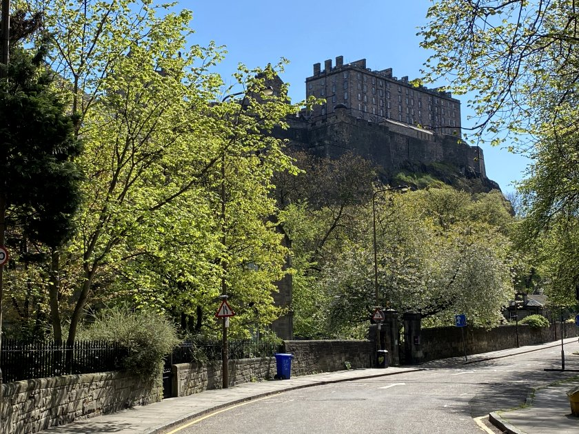 Edinburgh Castle, from King's Stables Road