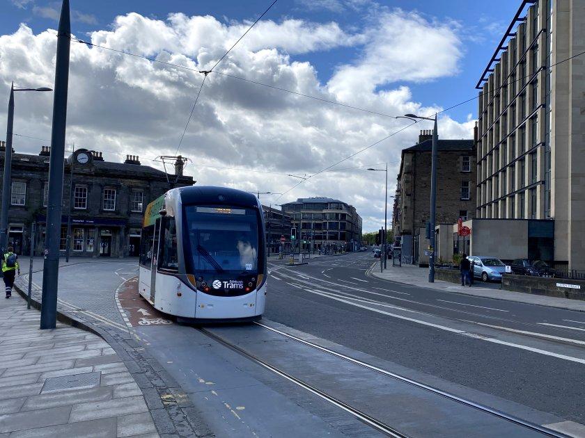 Tram approaching the Haymarket stop