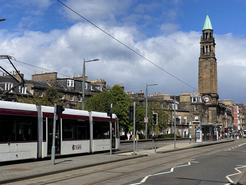 Tram approaching West End stop