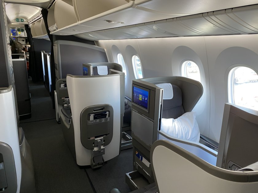Club World 'mini-cabin' behind First - my seat is forward-facing in the front row