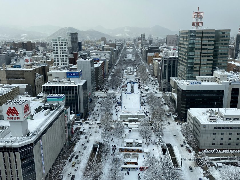 This is Odori Park, main site of the Snow Festival
