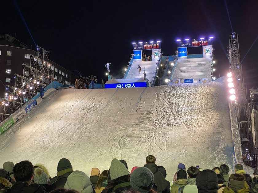 Crazy snowboarders perform for the crowds