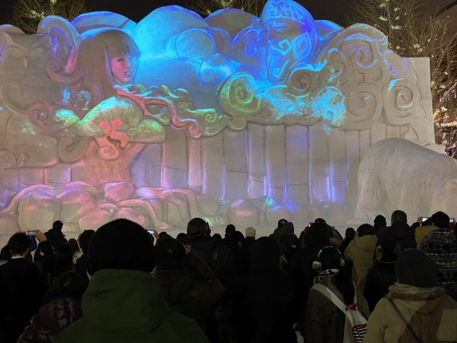 Many of the snow sculptures had lightshow images projected onto them