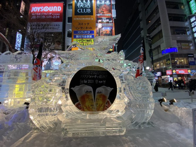 Intricate ice sculptures in Susukino