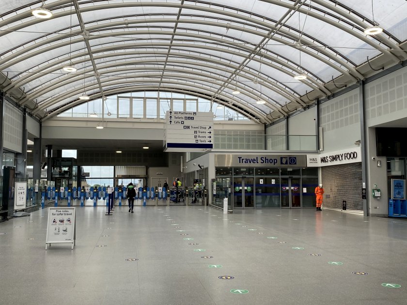 Near-deserted concourse at Edinburgh's Haymarket Station