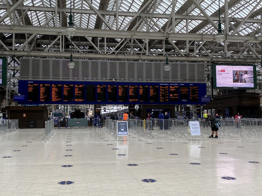 This is Glasgow Central, also looking unbelievably quiet