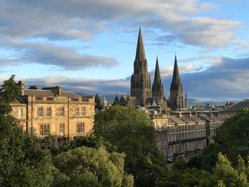 Drumsheugh Gardens, Chester Street, St Mary's Cathedral and the Pentland Hills