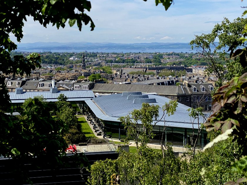 View across the north of Edinburgh while climbing up Calton Hill