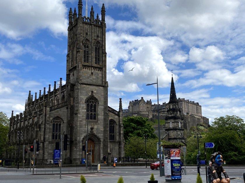 St John's (left), St Cuthbert's (right) and Edinburgh Castle