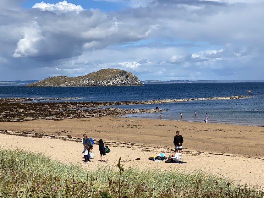 East Bay beach and Craigleith Island