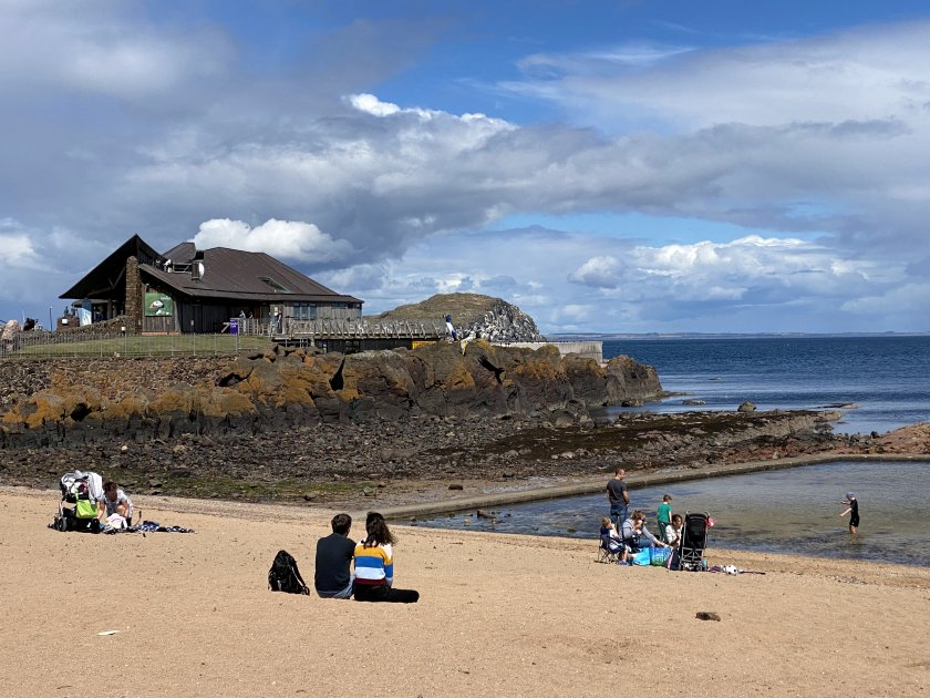 East Bay beach with the Scottish Seabird Centre