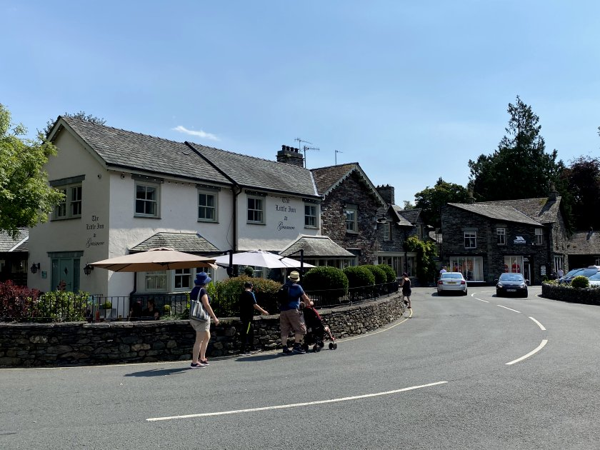The road winds its way through the village