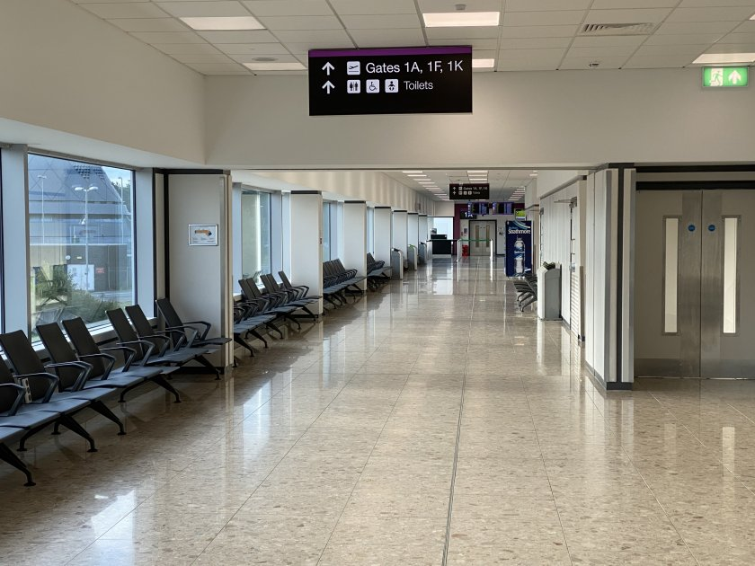 Looking to the western end of the terminal, and not a single person in sight