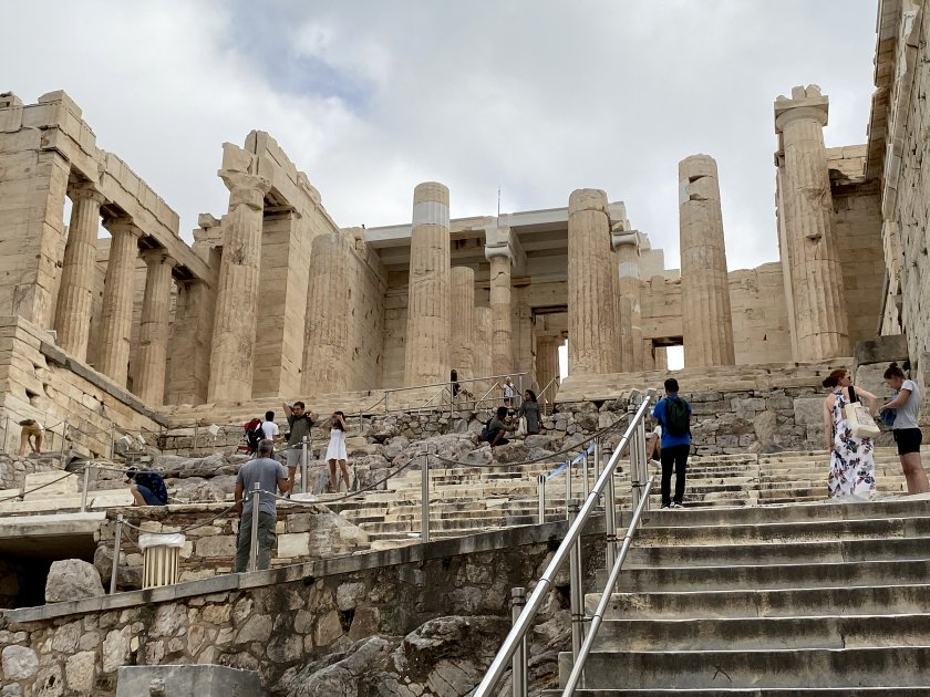 Alongside the Temple of Athena Nike and about to head for the Propylaea