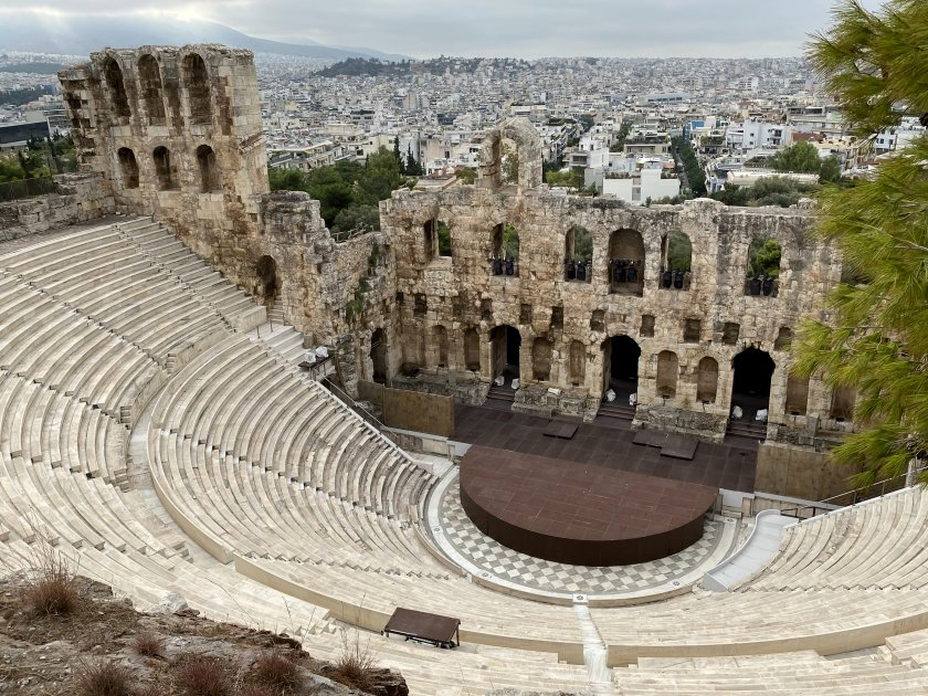 Back out via the Propylaea, and we had time to take a look at the Odeon of Herodes Atticus
