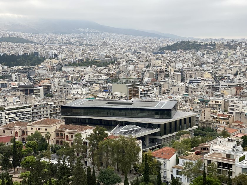 A view of the Acropolis Museum, captured this morning from the Acropolis itself