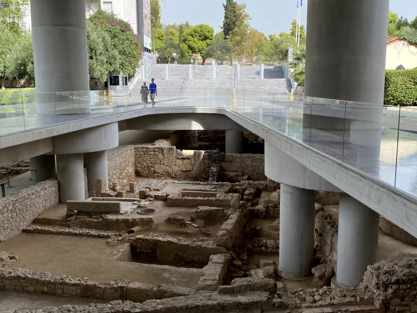 The museum entrance has been constructed over an archaeological site