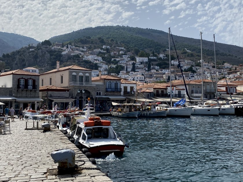 We began by walking to the main waterfront of Hydra Port ...