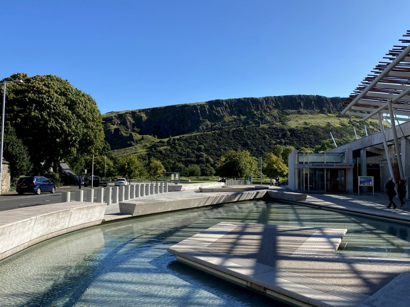 Scottish Parliament and Salisbury Crags