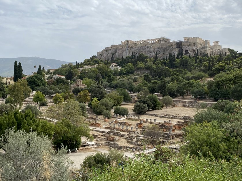 This view shows both the extent of the Agora and its location relative to the Acropolis