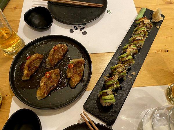 Pot stickers and sushi - yum, yum!