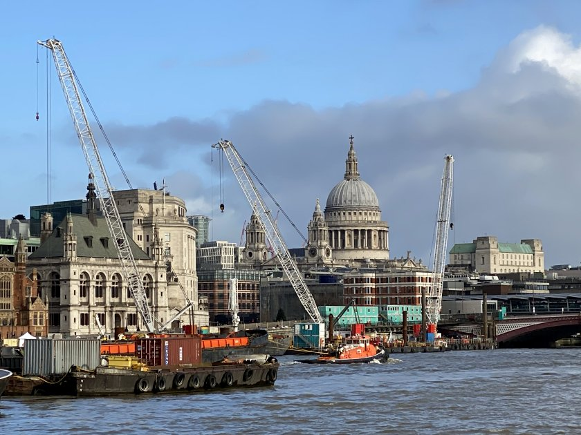 A rather cluttered view towards St Paul's