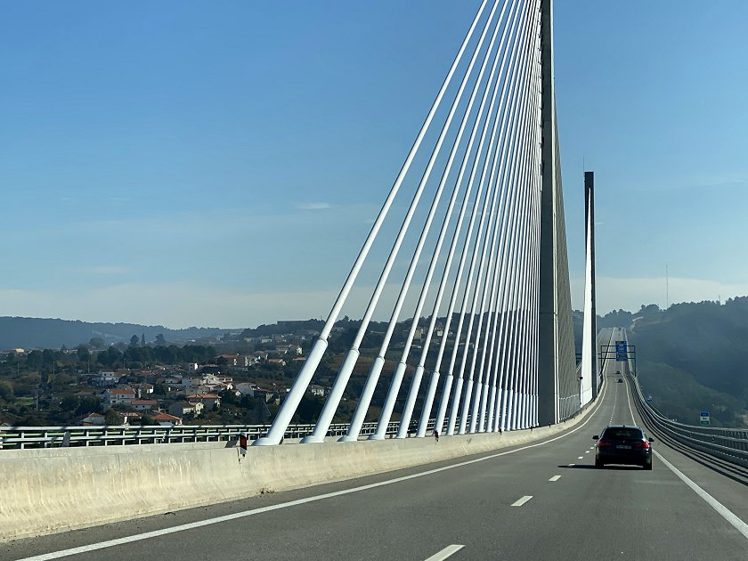 Entering the cable-stayed central sections of the Corgo Viaduct