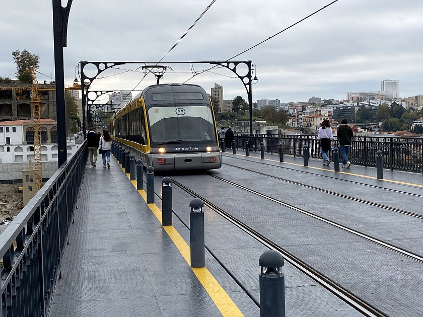 Here's a city-bound tram in poorer weather