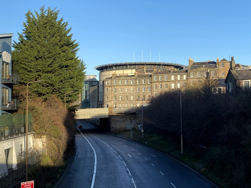 Looking towards the EICC, along an unusually deserted West Approach Road