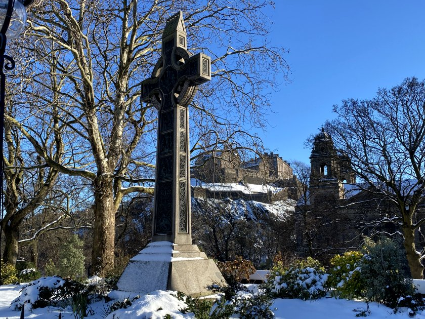 Edinburgh Castle, St Cuthbert's Church and Princes Street Gardens