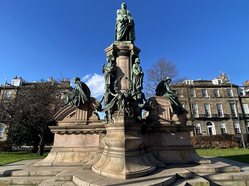 Gladstone Memorial, originally in St Andrew Sq, but moved to Coates Crescent Gardens in 1955