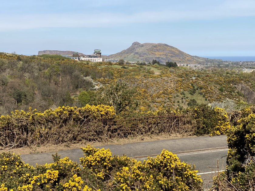 The Royal Observatory on Blackford Hill, with the Salisbury Crags and Arthur's Seat as backdrop