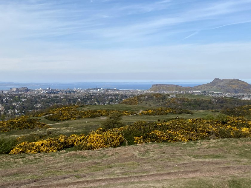 This view has Castle Rock, Calton Hill, Arthur's Seat and a bit of nearby Blackford Hill!