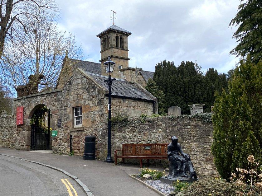 Colinton Parish Church and RLS statue