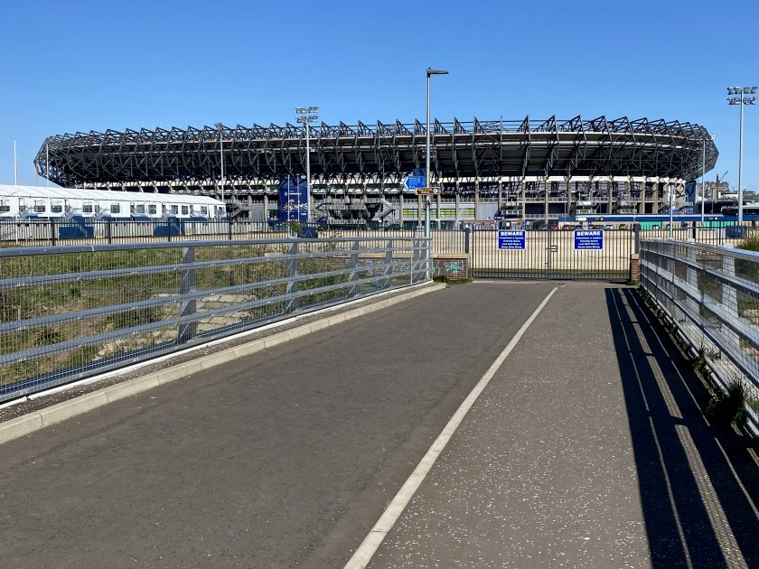 Looking towards Murrayfield Stadium, home of Scottish rugby