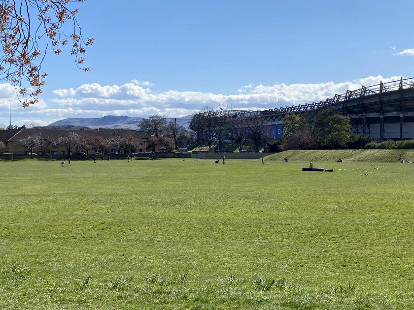 View across Roseburn Park towards the Pentland Hills