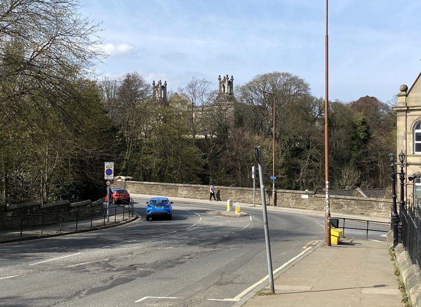 Approaching Belford Bridge, and Modern Two is visible through the trees