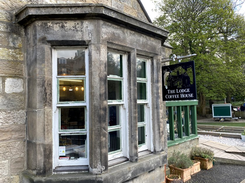 The former estate's lodge house is now a coffee shop