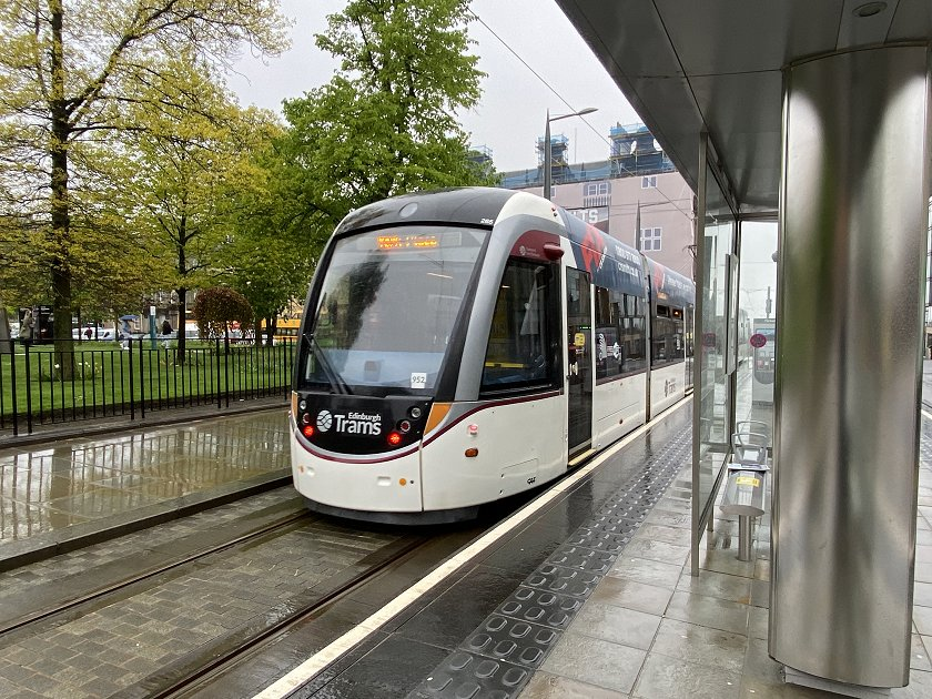 St Andrew Square tram stop in the rain. Let's head for Waverley!
