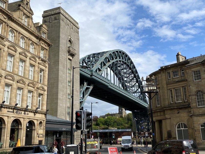 The Tyne Bridge makes a dramatic appearance
